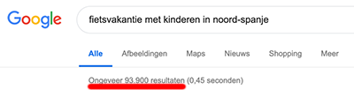 google result SEO longtail keyword vakantie